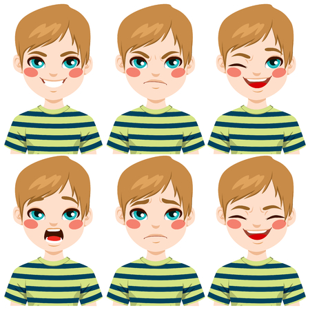 caucasians: Teenage boy making six different face expressions set