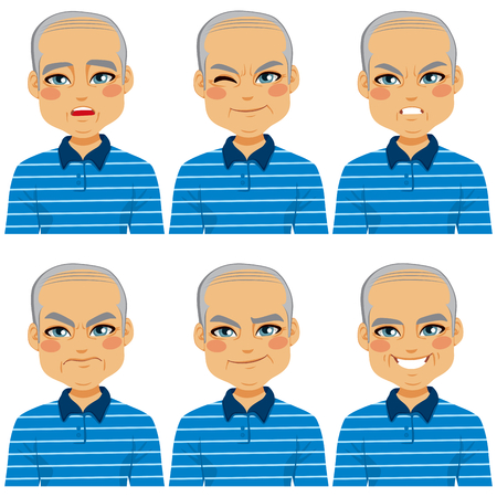 tease: Senior adult bald man making six different face expressions collection
