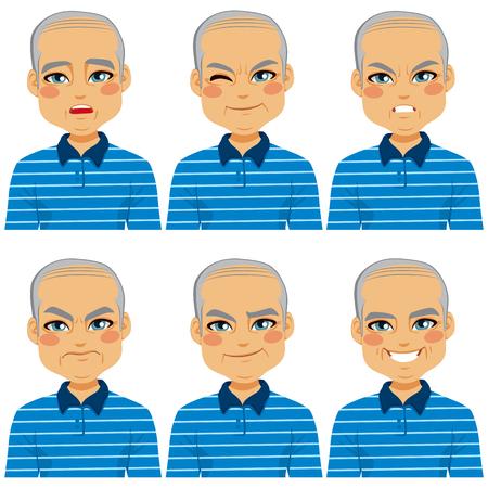 face expressions: Senior adulto hombre calvo haciendo colecci�n de seis expresiones faciales diferentes