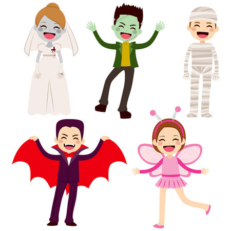 clipart frankenstein: Cute lovely collection of little cheerful children disguised with different Halloween costumes