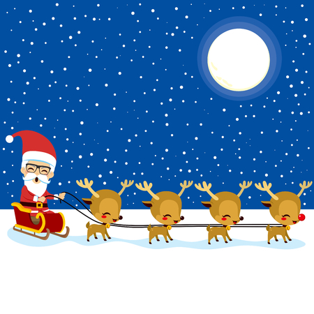 santa sleigh: Happy Santa Claus with reindeer sleigh at Christmas night