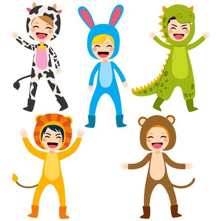 cute dinosaur: Cute little happy children wearing animal costume