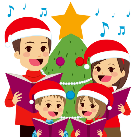 Happy family singing carols in front of Christmas tree at home Vectores