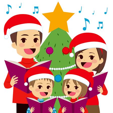 cantando: Cantando villancicos familia feliz delante del árbol de Navidad en casa Vectores