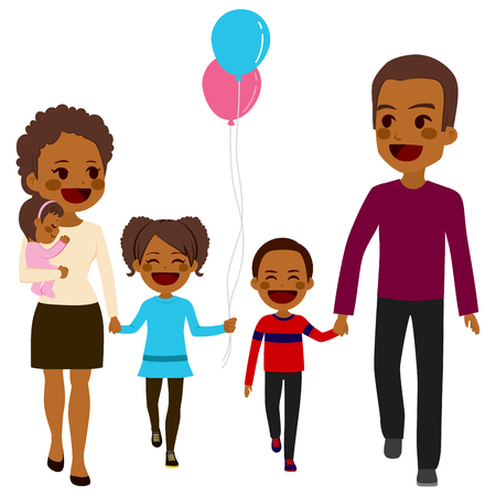 black family smiling: Cute happy five member African American family walking together smiling