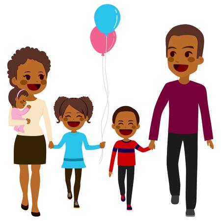Feliz de cinco miembros de la familia linda afroamericano caminando juntos sonriendo