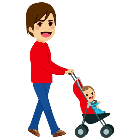 single parent: Handsome single father pushing stroller with cute newborn baby Illustration