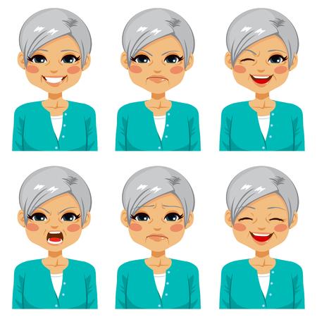 Adulto mayor de la mujer feliz haciendo seis expresiones faciales diferentes establecido Ilustración de vector