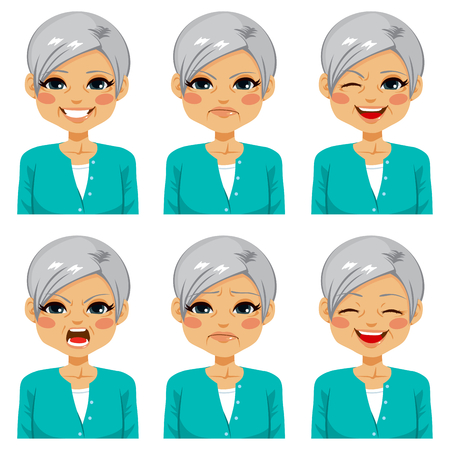 Senior adult happy woman making six different face expressions set Illustration