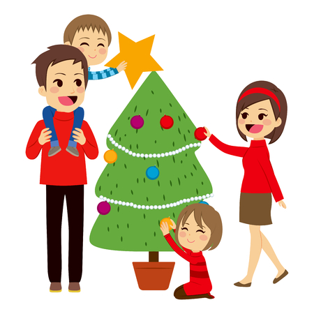 decorating christmas tree: Happy family decorating big Christmas tree together