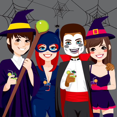 costume party: Small group of young adult people enjoying  Halloween costume party while drinking