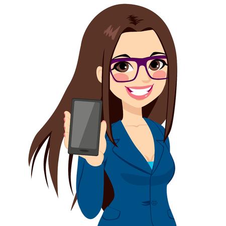 Piękna brunetka bizneswoman wyświetlania smartphone na pozycji pionowej