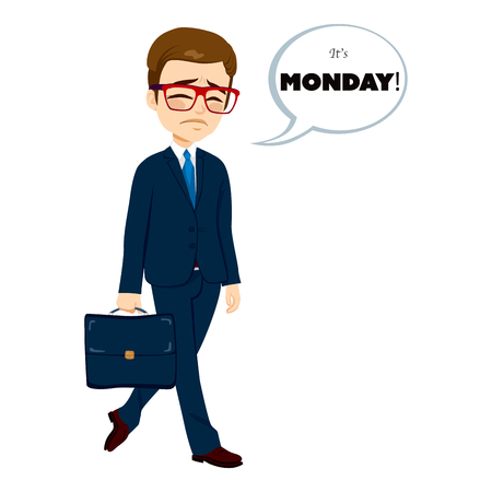 feeling exhausted: Young businessman walking sad to work with speech bubble with text its Monday