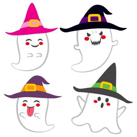 brujas caricatura: Colecci�n de diferentes fantasmas lindos divertidos con sombrero de bruja