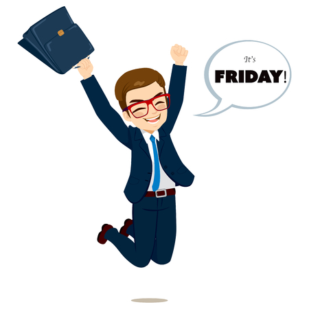 Young happy businessman jumping happy with white bubble speech with its Friday text