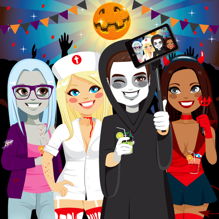 male costume: Small group of young adult people on Halloween costume party taking selfie
