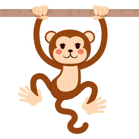 active: Cute active monkey hanging from tree branch