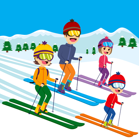 family illustration: Happy family of four members skiing on snow mountain