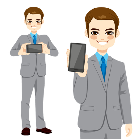 displaying: Young attractive businessman displaying smartphone on horizontal and vertical position