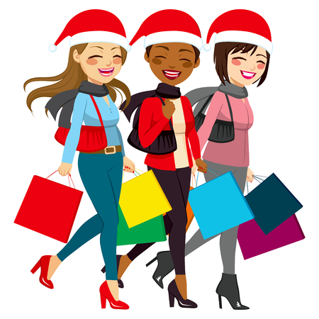 full body woman: Beautiful friends women from different ethnicities going shopping Christmas sales Illustration