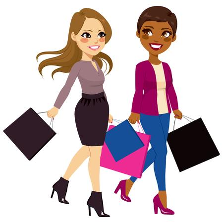 autumn woman: Beautiful best friends women from different ethnicities going shopping