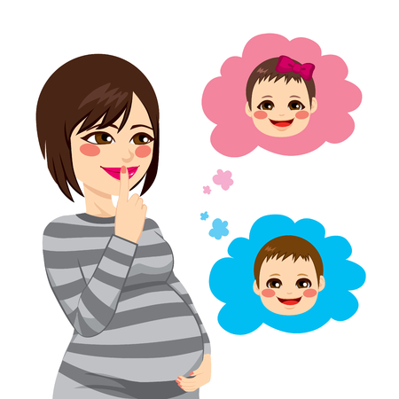 wondering: Beautiful Asian pregnant brunette woman wondering about the gender of her future baby