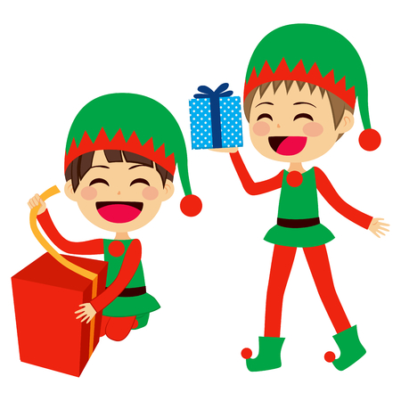 helpers: Cute Santa elves helpers wrapping and holding presents Illustration