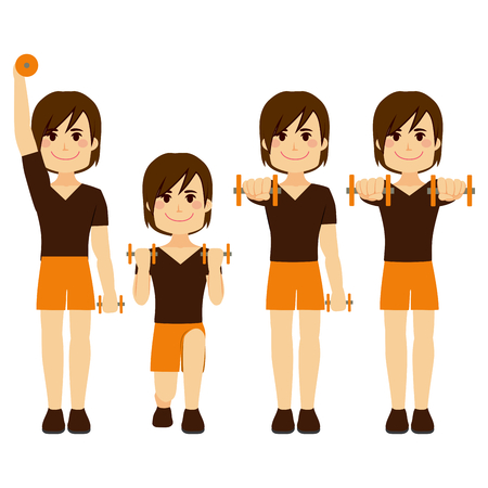 step fitness: Happy young strong man doing different dumbbell exercises Illustration