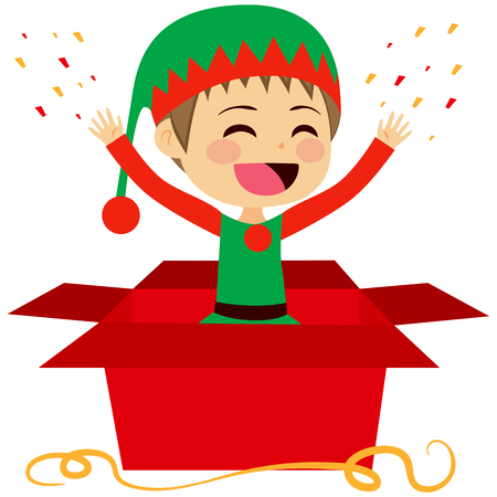 out: Cute Christmas elf coming out of inside Christmas red gift box