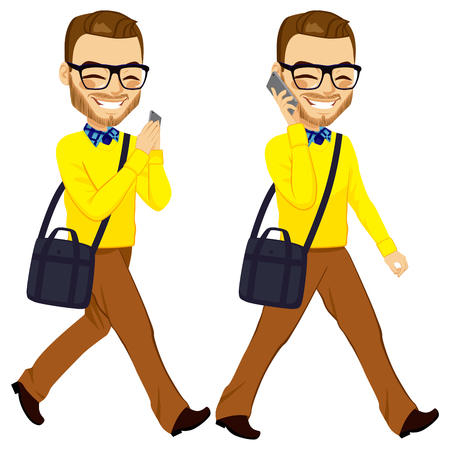 Two action happy young walking man with smartphone chatting and answering phone call