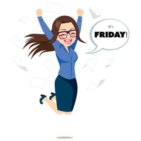 it's: Young happy businesswoman jumping happy with white bubble speech with its Friday text and papers flying