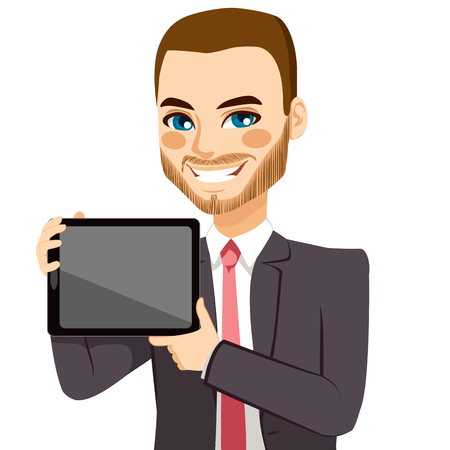 horizontal position: Attractive businessman displaying tablet on horizontal position
