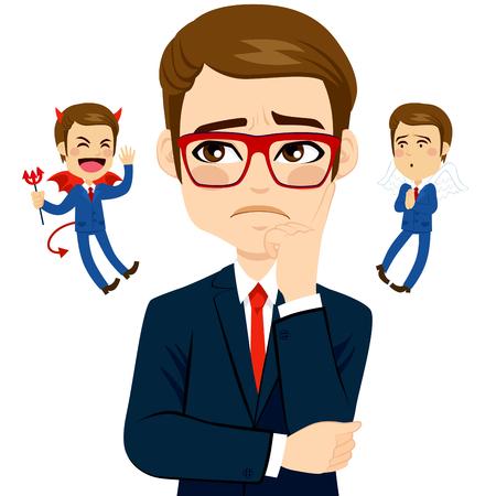 satanas: Empresario escuchar un �ngel y un diablo toma de decisiones