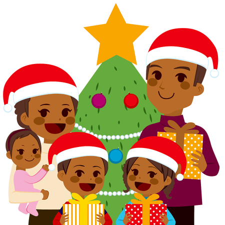 african american family: Funny African American family celebrating Christmas holding presents near Christmas tree