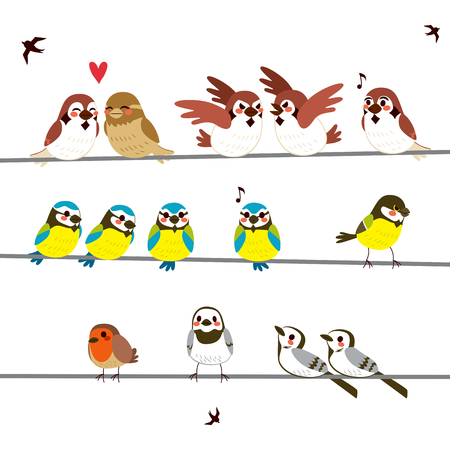 Wires full of funny birds of different kinds doing different actions
