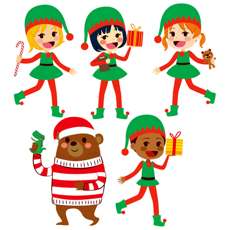 helpers: Cute little Santa helpers children and bear with presents wearing Christmas hat
