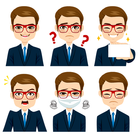 Handsome brown haired young adult businessman on six different face expressions collection 向量圖像