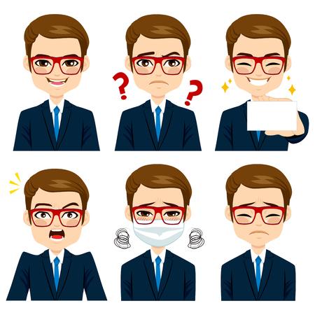 Pohledný hnědé vlasy mladých dospělých podnikatel na šesti různých výrazy tváře kolekce
