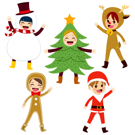 christmas costume: Cute little children wearing funny Christmas themed costume Illustration