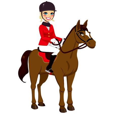 Piękne blond dziewczynka stoi konny z brązowego konia