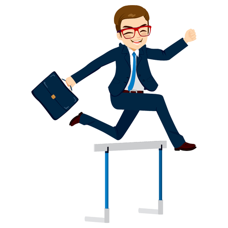 Happy businessman jumping hurdle successful  concept overcoming difficulties in business