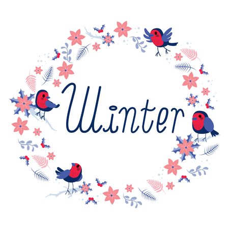 winter flower: Cute round winter floral frame with vintage birds leaves and flower elements design