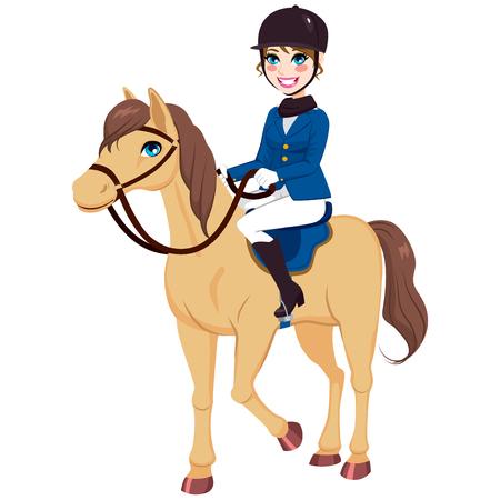 Happy uśmiechnięta dziewczynka z jeździeckich dżokej konia czystej krwi