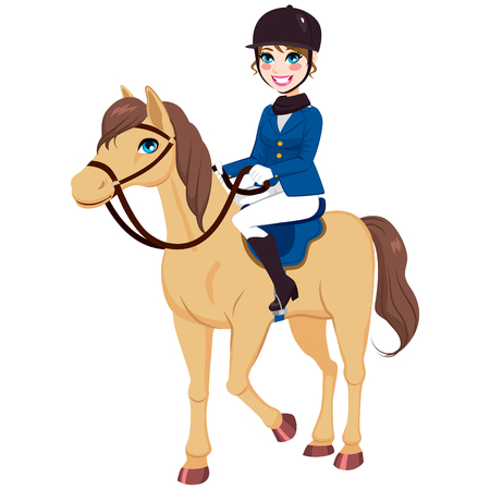 Happy smiling equestrian jockey girl with purebred horse