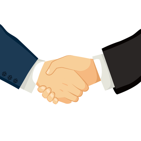 discussion meeting: Close up illustration of two businessmen shaking hands on an successful agreement