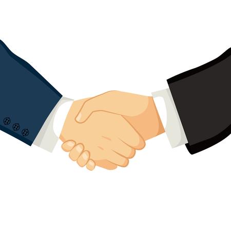 hombres ejecutivos: Close up ilustraci�n de dos hombres de negocios d�ndose la mano sobre un acuerdo exitoso Vectores