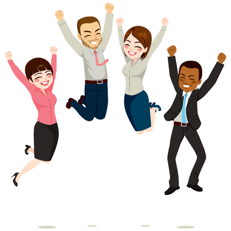 multiracial: Happy business workers jumping celebrating success achievement