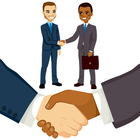 Young bussinessmen people shaking hands on a successful agreement