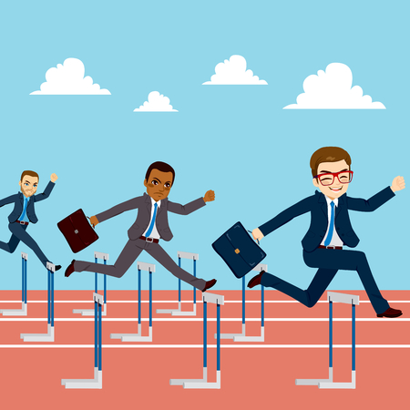 Small group of businessmen competition concept jumping hurdles on business competitive career