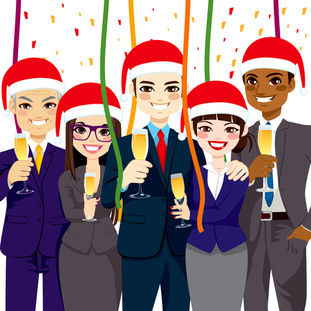 juniors: Happy small business people group wearing Santa hat at corporate Christmas party